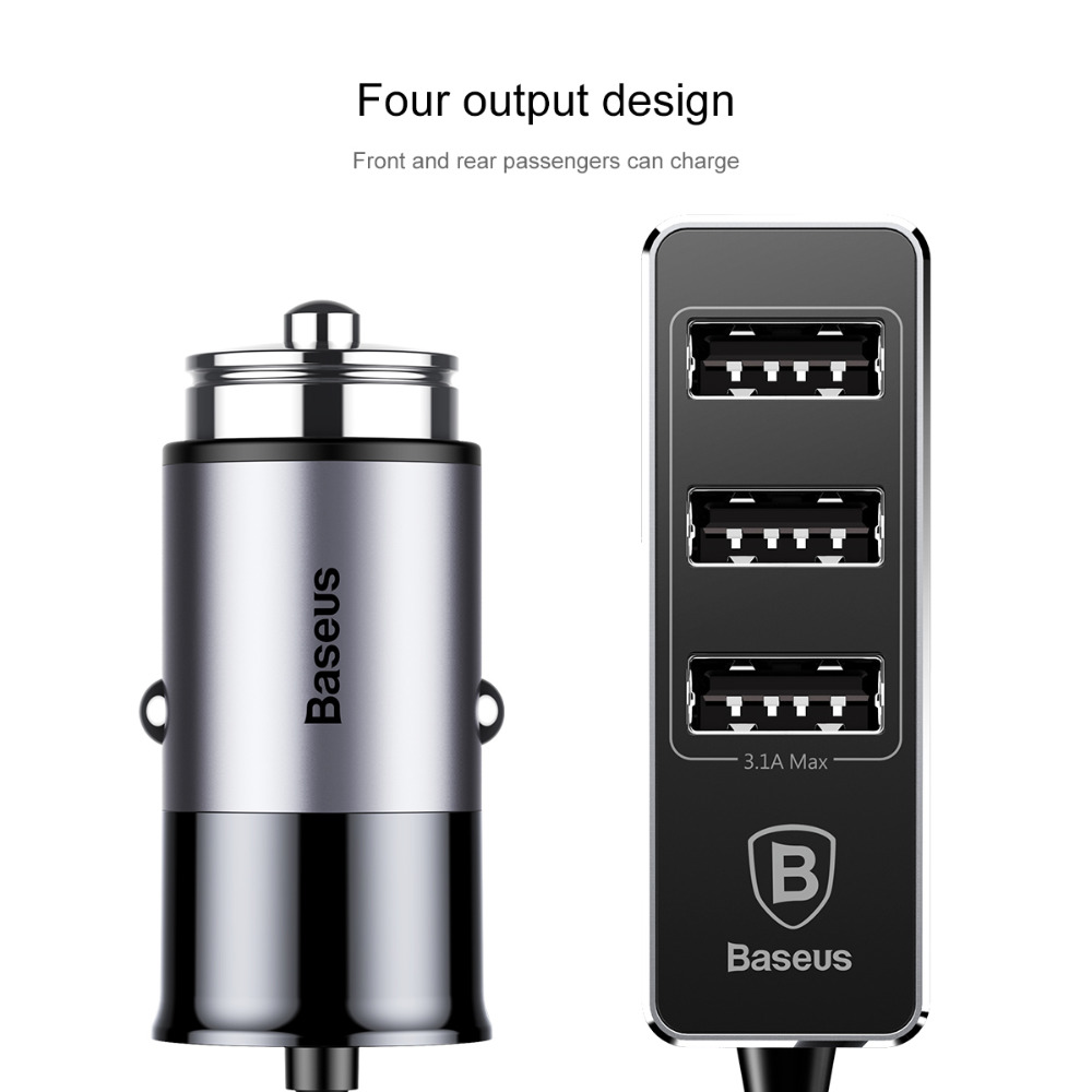 Baseus 4 port usb car charger adapter socket 5.5A fast charging universal Mobile phone tablet for iPhone Samsung xiaomi Original