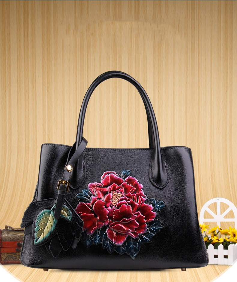 new arrival genuine leather stereoscopic flower pattern women leather handbag bfdadi 2018 new arrival hat genuine