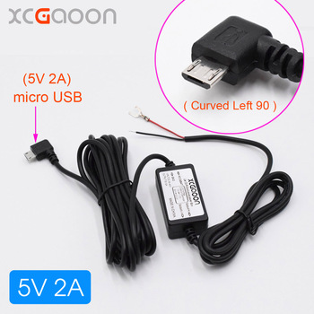 XCGaoon Car DC Converter Module inPut DC 12V & 24V To 5V 2A with micro USB Cable (Curved Left) fit Car DVR GPS Cable Length 3.5m image