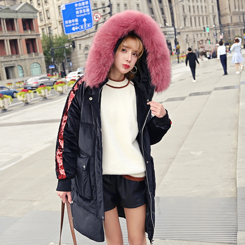 Large natural raccoon fur collar hooded   down     coat   outerwear women velvet warm   down   jacket new 2019 autumn winter
