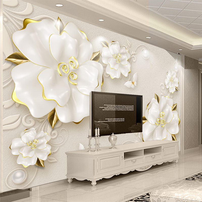 Custom Photo Wallpaper 3D Stereoscopic Relief Rose Jewelry Flowers Murals Living Room TV Backdrop Wall Decor Luxury Wall Papers