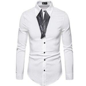 Image 3 - 2019 夏の高品質男性のファッションパーソナライズされた仕立て pu レザーステッチ襟長袖シャツ