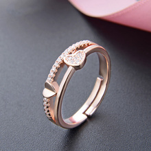 Romantic rose gold color Love Heart Shape Cubic Zircon Finger Rings 925 sterling Silver AAAAA Engagement Wedding