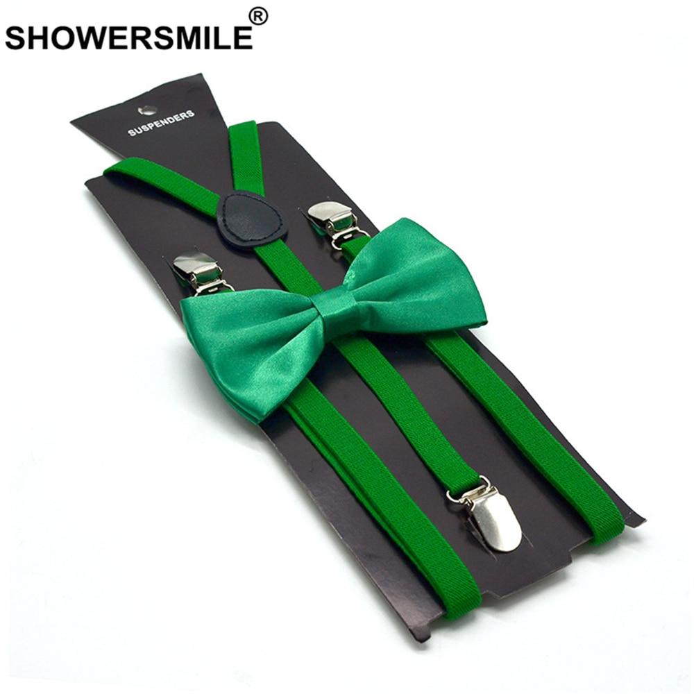 SHOWERSMILE Green Suspenders With Bowtie Men Women Yellow Red Black White Blue Pink Beige Adult Suspenders Braces 100cm*1.5cm