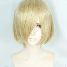 Anime Yuri on Ice Plisetsky Yuri Cospaly Wigs Short Blonde Synthetic Hair Peruca COS Wig
