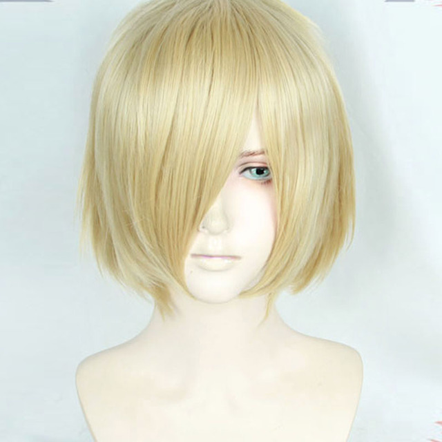 Anime Yuri!!! on Ice Plisetsky Yuri Cospaly Wigs Short Blonde Synthetic Hair Peruca COS Wig