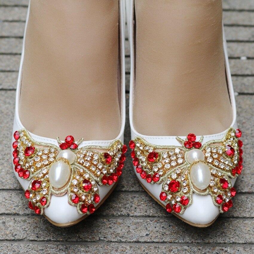 Alto Del Cristal Mujeres Super Bowknot Honor De Rojo Heel 5cm Pie Las Bombas Zapatos Mariposa Slip Para Boda Puntiagudo Dedo en Tacón 9 Dama Chica 8Czwqfw