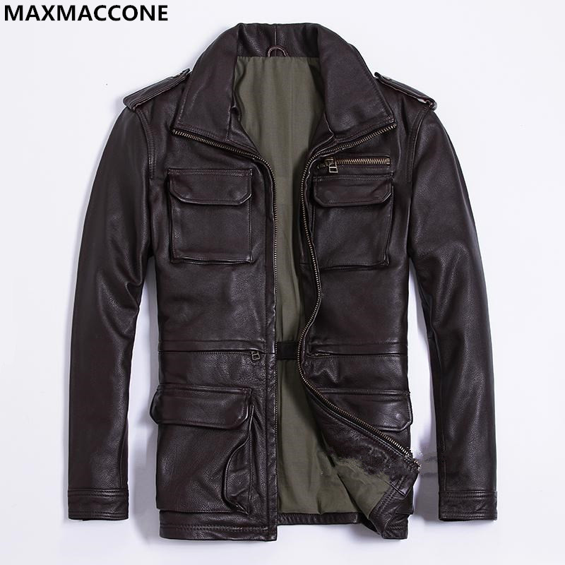 2018 Brow Men Long M65 Leather Jacket Plus Size XXXL Genuine Thick Cowhide Winter Russian Safari Leather Coat FREE SHIPPING