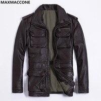 2019 бровей Для мужчин длинные M65 кожаная куртка плюс Размеры XXXL натуральная толстые теплые зимние российские Safari кожаные пальто Бесплатная д