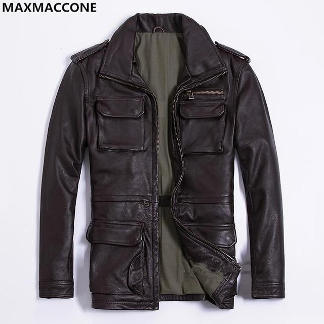 7a96e35e6cd 2019 Brow Men Long M65 Leather Jacket Plus Size XXXL Genuine Thick Cowhide  Winter Russian Safari