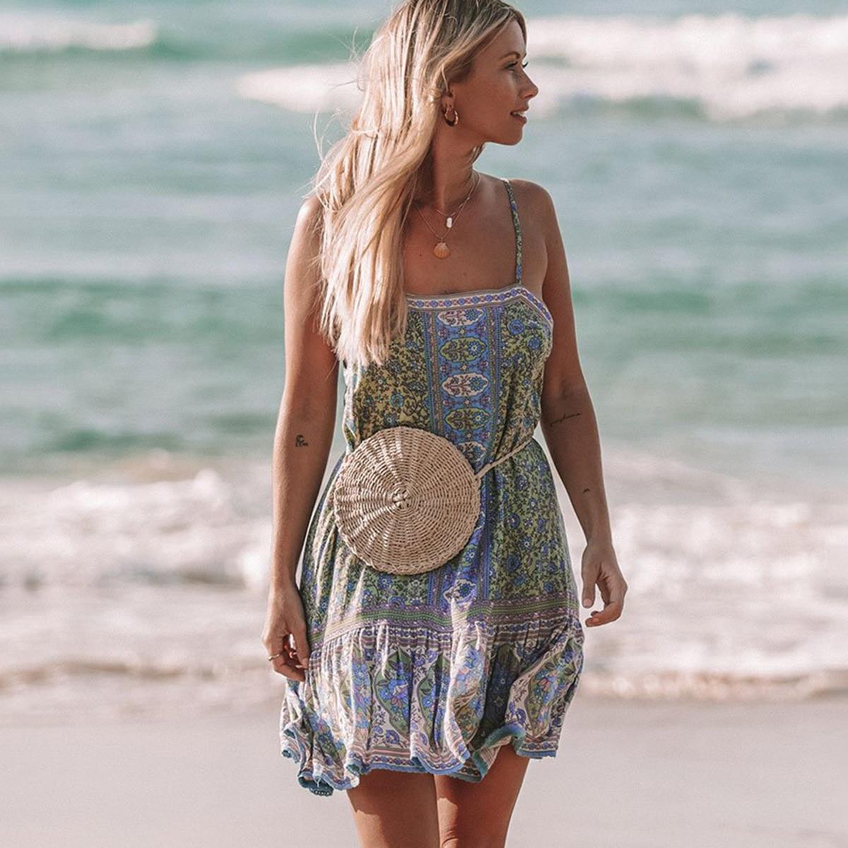 Bohemian Beach Dress Sexy Low Back Strappy Mini Dresses Vintage Floral Print Women Dress 2019 Summer Dresses Short Vestidos