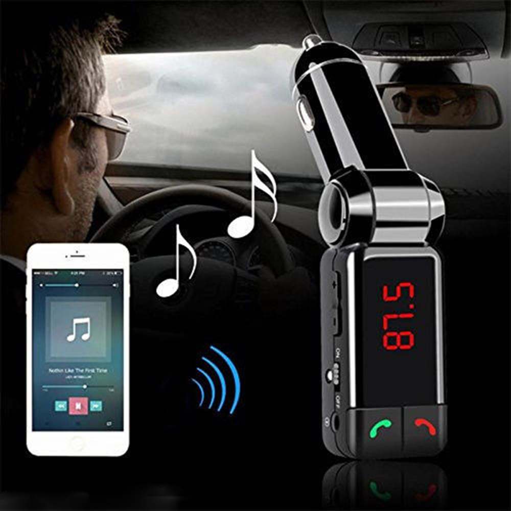KWOKKKER Car Bluetooth FM Transmitter Kit Wireless MP3 Player Modulator Handsfree LCD Dual USB Charger for iPhone Smartphone