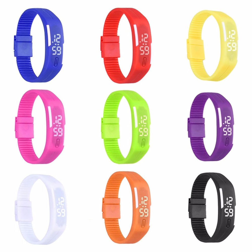 Fluorescent LED Flashing Wrist Band Childrens Boy Girls Sports Bracelet Arm Band Belt Light Up Dance For Party Decoration Gift