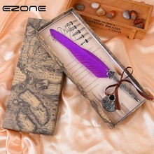 EZONE    1pc Creative Turkey Feather Metal Pen Writing  For Stationery Wrtting Gift Box Wedding Gift  Pen Fountain Pen Supply bnb europe and the united states creative craft feather pen ink set feather pen gift box new metal pen can be customized