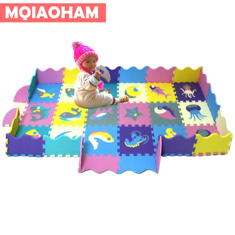 Eva Foam Puzzle Mats Childrens Mats with Boards Interlocking Environmental Foam Tiles Soft Tatami Kids Rugs Baby Play Mat