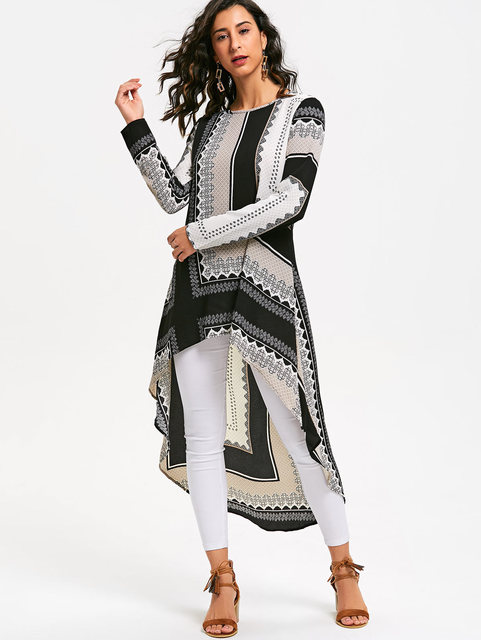 Tribal Print Long Sleeve High Low Dress Women Roun...
