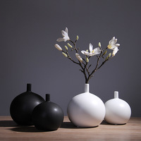 Grenn Sound Nordic Minimalist Style Vase Black and White Matte Vase TV Cabinet Porch Decoration Decoration Ornaments