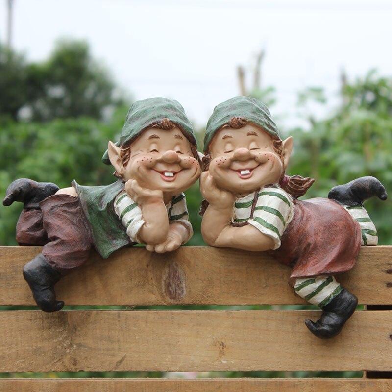 2 pièces poly résine créative gnome de jardin elfe figurine porter de l'eau cour nain statue maison jardin extérieur décorations ornement