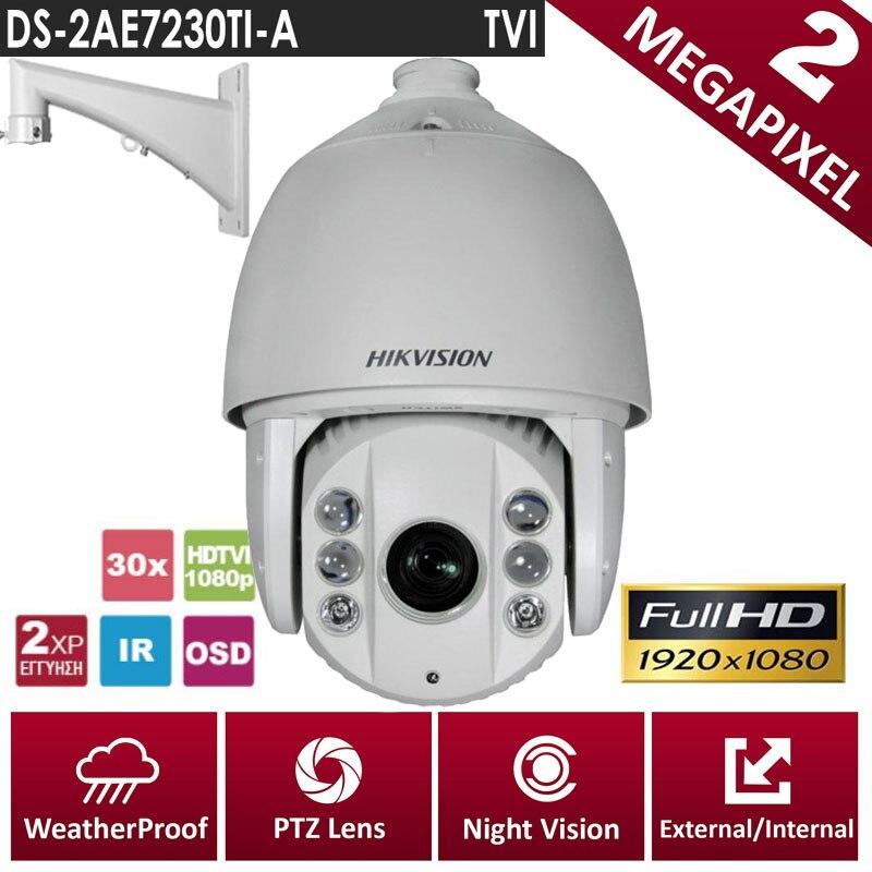 Hikvision Original English Version DS-2AE7230TI-A HD1080P Turbo IR PTZ Dome Camera 30X optical zoom UP to 120m CCTV Camera english firmware ptz camera ds 2de7184 a 2mp hd 1080p ptz speed dome camera ip66