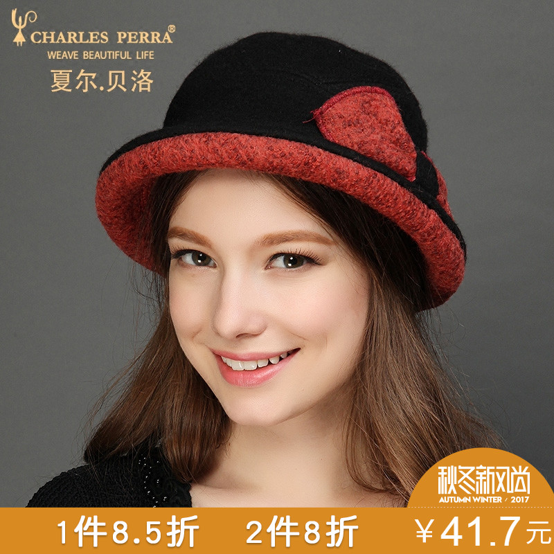 Womens Wool Hat Winter Woolen Fedoras Hat Protect Ear Warm Bowler Floppy Ladies Churh Cl ...