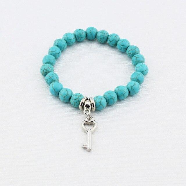 LNRRABC Hot Women Lady Girl Trendy  Beads Cross Key Owl Elephant Stainless Steel Pendents Bracelet Fashion Jewelry