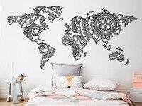Мандала карта мира настенные наклейки в спальню Йога виниловые наклейки для стен шаблон для охоты, кемпинга Boho Стиль домашний декор настенн...