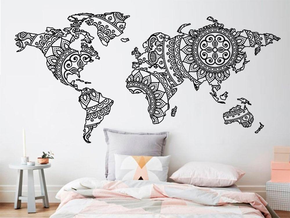Mapa Do Mundo Adesivo de Parede Decoração Do Quarto De Parede Yoga Mandala Art Vinyl Decalque Da Parede Padrão Boho Estilo Moderno Decoração de Casa Mural d263