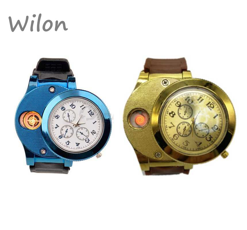 Hot Fashion Casual Sport Horloge USB Aansteker Horloges Siliconen band Quartz Horloge Mannen Vrouwen Jelly USB Sigarettenaansteker F772