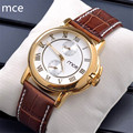 MCE Watches Men Luxury Brand Mechanical Watches Brown Leather Wrist watch for men Waterproof clock men Relogio masculino 2016