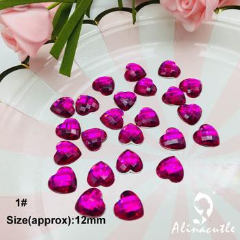 50 pc 12mm płaskie diament w kształcie serca kryształy kamień naklejki gem kreatywny DIY handmade Art rzemiosło Scrapbooking kryształy tanie i dobre opinie 19041604 Acrylic