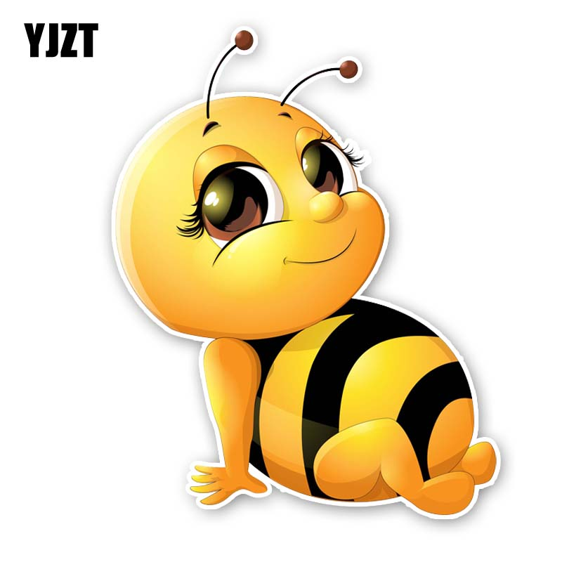 YJZT 14.9CM*18.7CM A Smiling Bee Modelling Sticker Car PVC Decal 12-300568