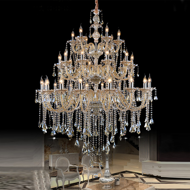 Large Crystal Chandeliers Modern Chrome Chandelier Lighting Dining Room Luxury Home Lamp