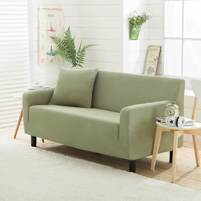 Light green universal stretch couch sofa cover for living room solid ...