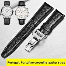 HOWK Correa de reloj sustituto IWC, 20mm, 21mm, 22mm, reloj de cuero auténtico, banda de cocodrilo redonda, reloj Starp