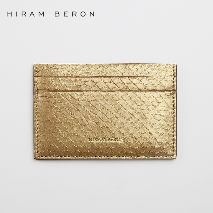 Hiram Beron Card Holder Snake skin golden Wallet Free Customized Mini Card Travel Genuine Wallet Leather