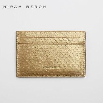 Hiram Beron Card Holder Snake skin golden Wallet Free Customized Mini Card Travel Genuine Wallet Leather Card Case dropship