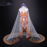 Fashion Cathedral Length Wedding Veil One Layer Blusher Veil White Ivory with Gold Lace Edge Long Bridal Veil