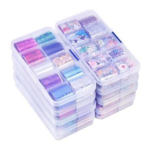 Image 1 - Lot de 10 pièces feuille de clou ciel étoilé (10 couleurs) papier holographique décalcomanies Nail Art transfert autocollant 2.5*100cm outils à ongles (10 pièces, 8)