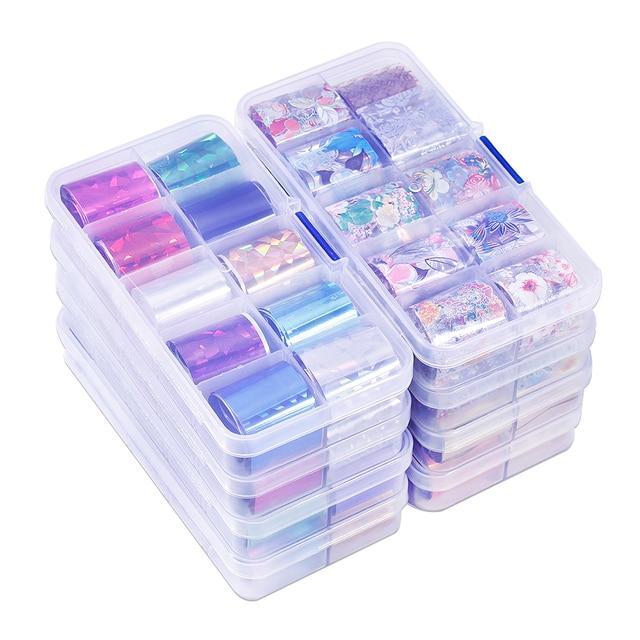 Lot de 10 pièces feuille de clou ciel étoilé (10 couleurs) papier holographique décalcomanies Nail Art transfert autocollant 2.5*100cm outils à ongles (10 pièces, 8)