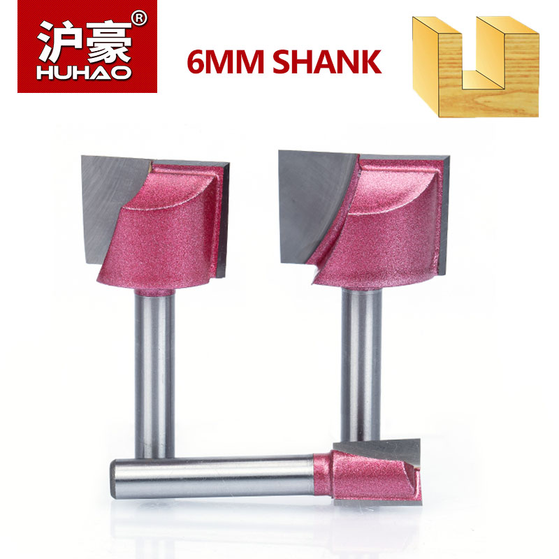 HUHAO 1 stück Schaft 6mm CNC Reinigung Bottom Fräser Holzbearbeitung Werkzeuge Bits Für Holz Doppelflöte Hartmetall schaftfräser