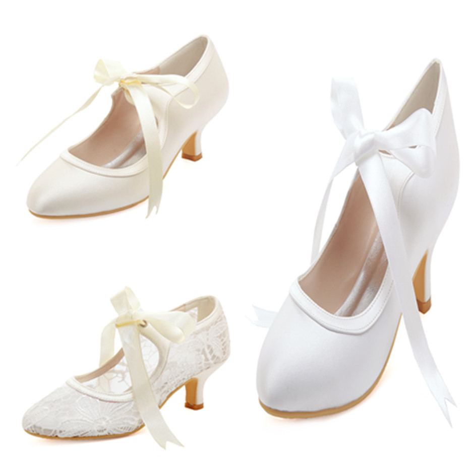 Women wedding shoes mid heel Mary Jane Bridal prom party dress pumps satin ladies bride bridesmaids