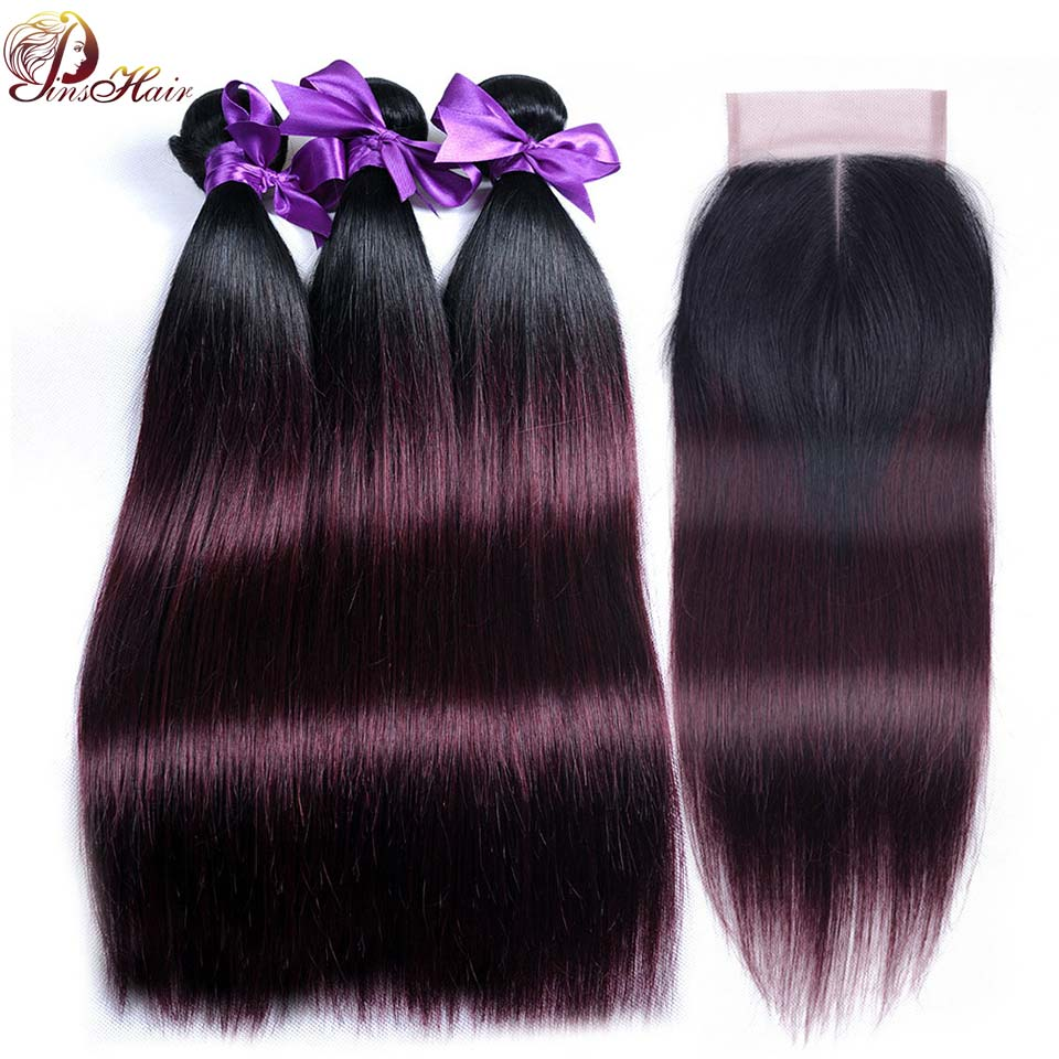 1B 99J Ombre Bundles With Closure Burgundy Red Hair Brazilian Straight Human Hair 3 Bundles With Lace Closure Pinshair Non Remy