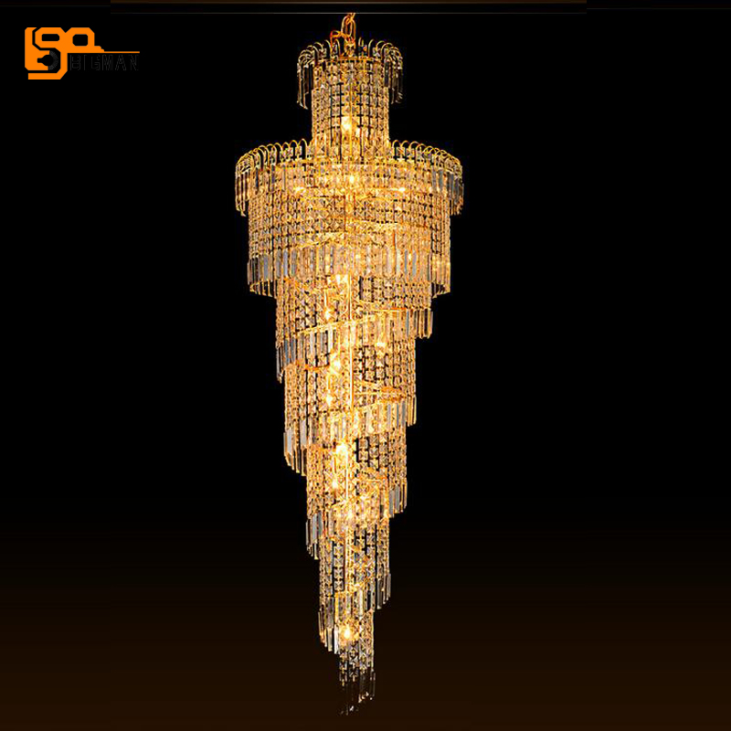new spiral design luxury crystal chandeliers lighting fixtures long staircase chandelier gold lamps