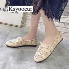 브랜드 ksyoocur 2020 신사 숙녀 플랫 신발 캐주얼 여성 신발 편안한 라운드 발가락 플랫 신발 봄/여름 여성 신발 x01