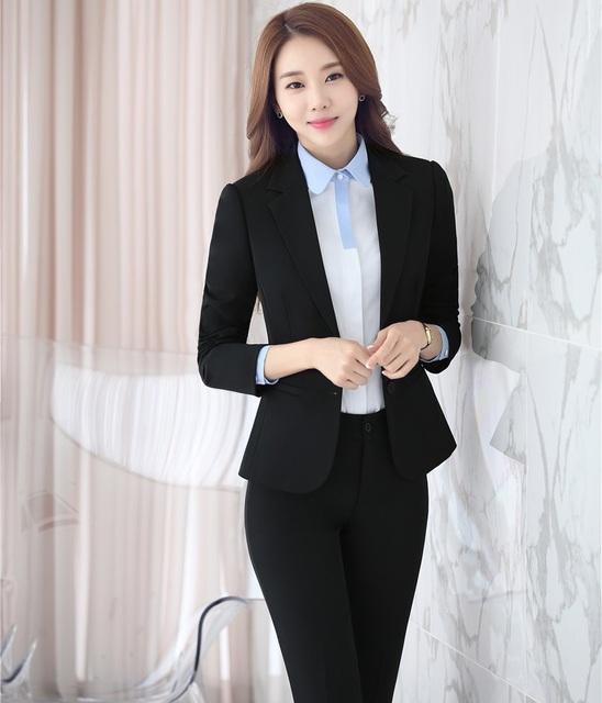New Outono Inverno Estilos Uniformes Pantsuits Formais Ternos Desgaste do Trabalho Profissional de Negócios Com Jaquetas E Calças Conjuntos