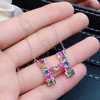 Natural Multicolor tourmaline Necklace Natural Gemstone Pendant Necklace 925 sliver fashion Letter H ladder women party Jewelry