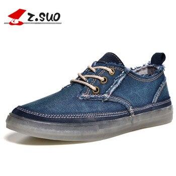 Z. Suo Brand 2019 Fashion Men's Shoes Casual Canvas Denim Shoes for Men Lace Up Breathable Zapatillas Hombre Retro Beige