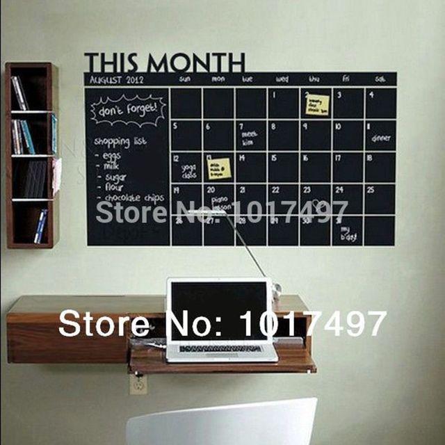 Adesivo de parede Diy 56x38 cm quadro Mensal, Planejador de Calendário Quadro Blackboard Removível Da Parede do Vinil Adesivo Decalque Mural
