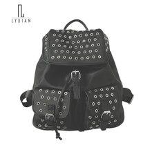 Лидийский Новинка 2017 года стильный рюкзак с заклепками Для женщин Сумка с полной Отверстие Металлической Оксфорд рюкзак сумка Мода корейский стиль Черный Mochila