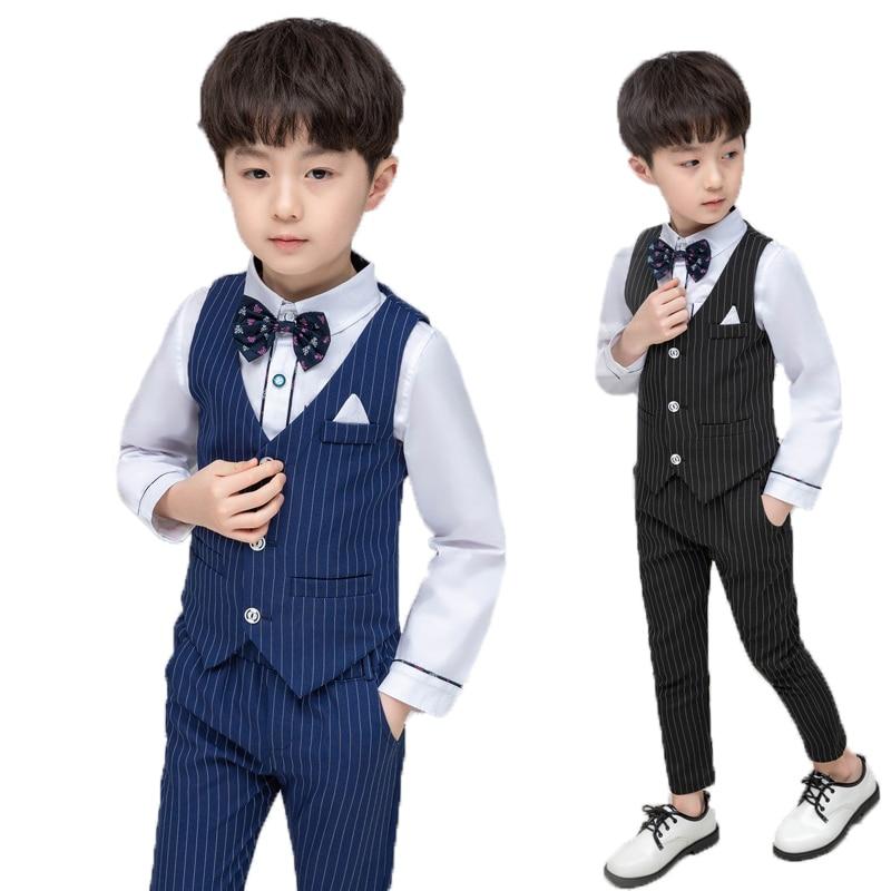 3PCS Baby Boy Kid Formal Suit Tuxedo Party Wedding Shirt Tops Pants Set Vest